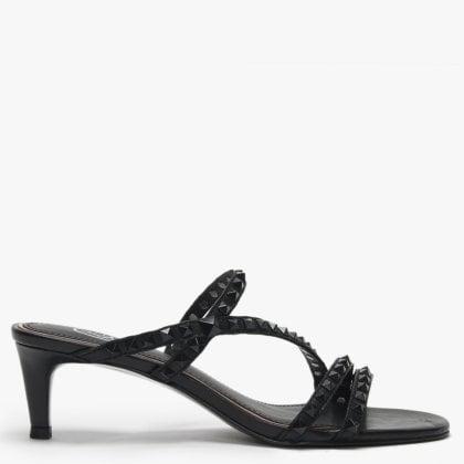 7eda155eddf5c Kate Studs Black Leather Kitten Heel Sandals