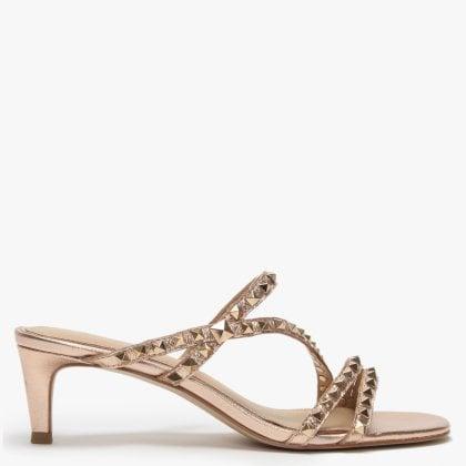 977e1460269e Kate Studs Rose Gold Leather Kitten Heel Sandals