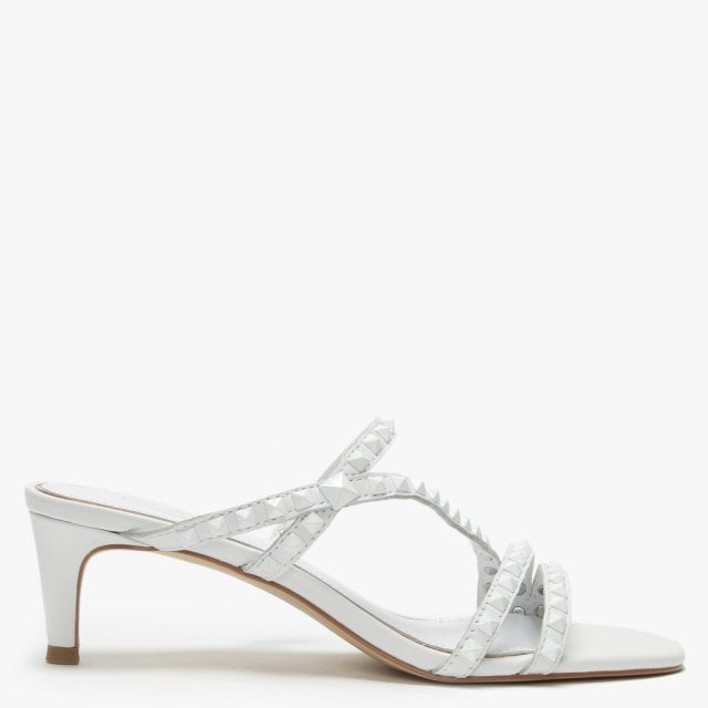 5480954856 Ash Kate Studs White Leather Kitten Heel Sandals