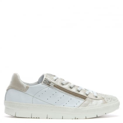 Kates White Leather Sequin Toe Trainers