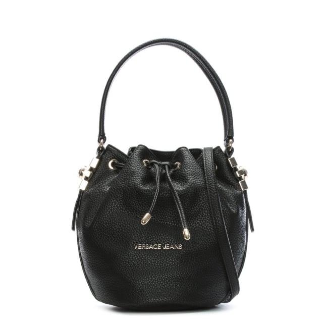 Versace Jeans Katie Black Pebbled Bucket Bag