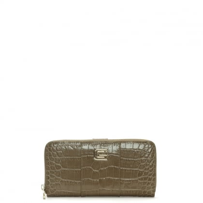 Keira Taupe Leather Moc Croc Zip Around Wallet