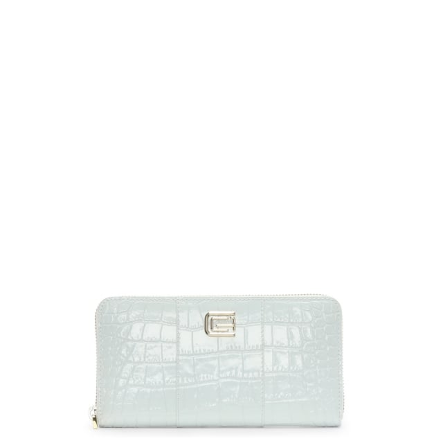 Keira White Patent Leather Moc Croc Zip Around Purse