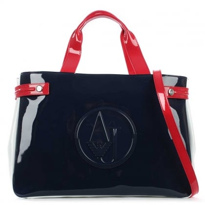 Kelis Tricolour Navy Patent Shoulder Bag