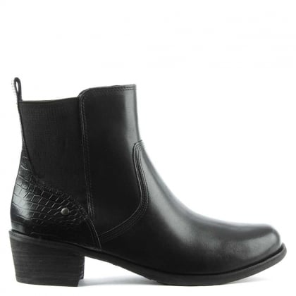 Keller Croco Black Leather Chelsea Boot
