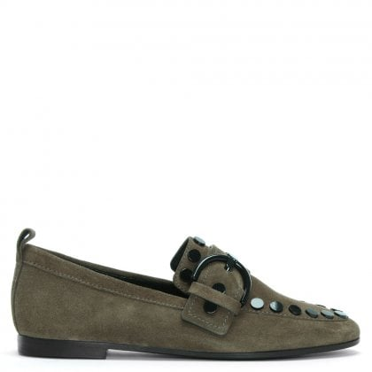 6443f0322cf43 Kellett Taupe Suede Studded Loafers. Free Standard UK Delivery