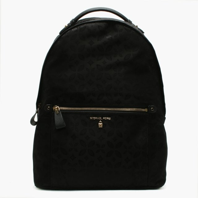 868a7695baee65 Michael Kors Kelsey Black Nylon Floral Printed Jacquard Backpack