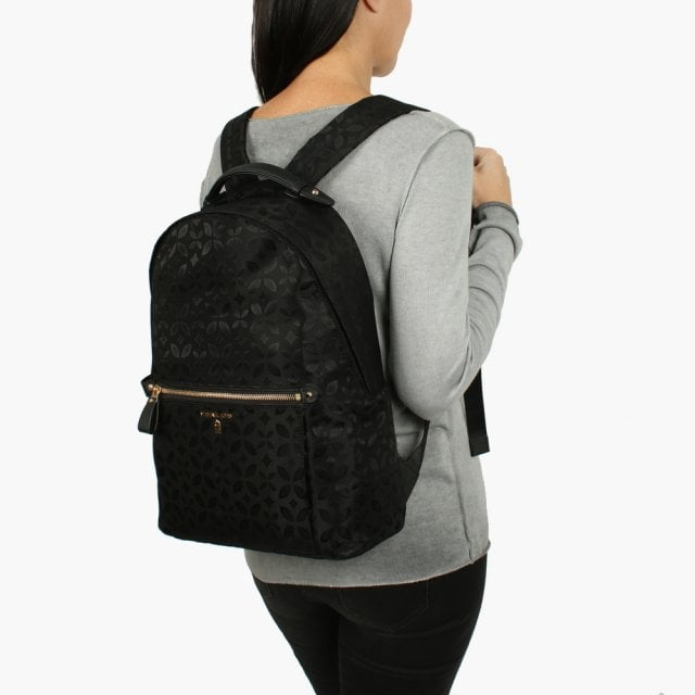 8abc244e181ef Michael Kors Kelsey Black Nylon Floral Printed Jacquard Backpack