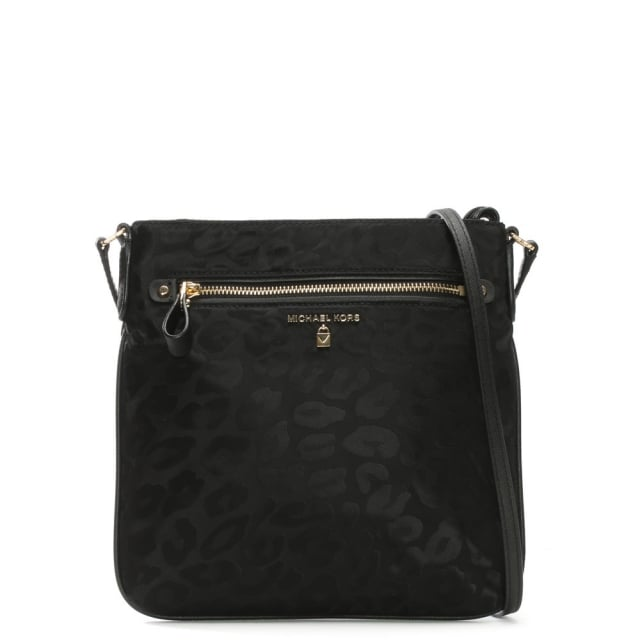 82483455caf5c Michael Kors Kelsey Black Nylon Leopard Print Cross-Body Bag