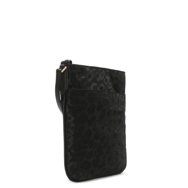 3d5fbbc33c15be Michael Kors Kelsey Black Nylon Leopard Print Cross-Body Bag