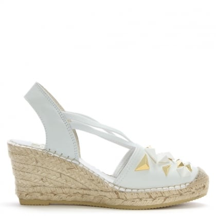 Kempsey White Leather Embellished Wedge Espadrilles