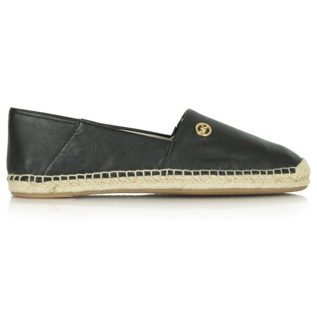 Michael Kors Black Leather Kendrick Slip On Espadrille b44bf719813
