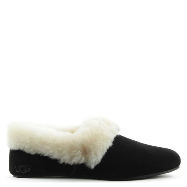 Kendyl Black Suede Sheepskin Slipper