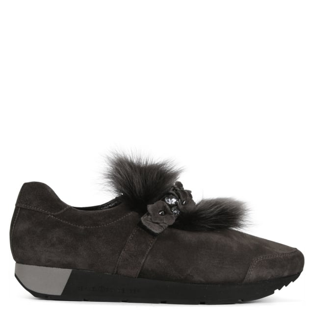 Kennel & Schmenger Kenna Grey Suede Fur Trim Trainers
