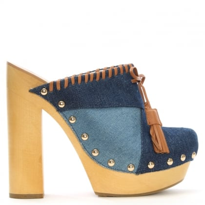 Kennedy Denim Patchwork Platform Mules