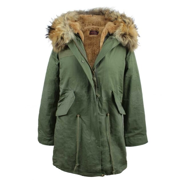 Khaki Fur Lined Hooded Parka