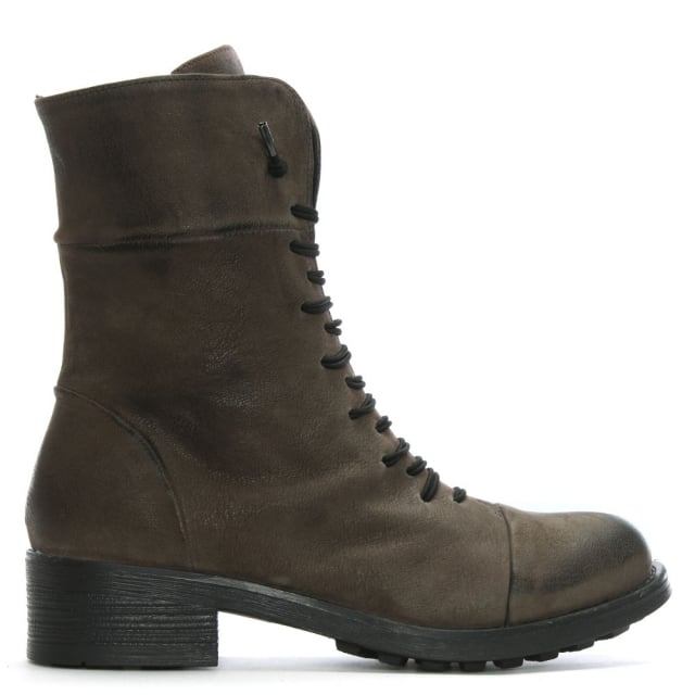 Khaki Leather Elasticated Lace Biker Boots
