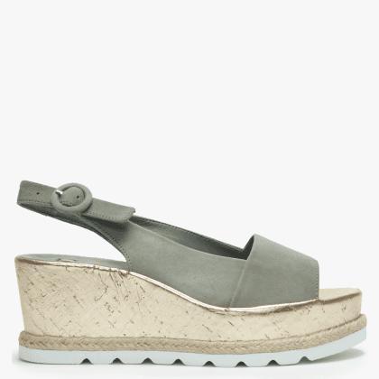 a0f9db661 Khaki Suede Low Cork Wedge Sandals