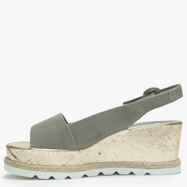 6c52616ae6289 Hogl Khaki Suede Low Cork Wedge Sandals