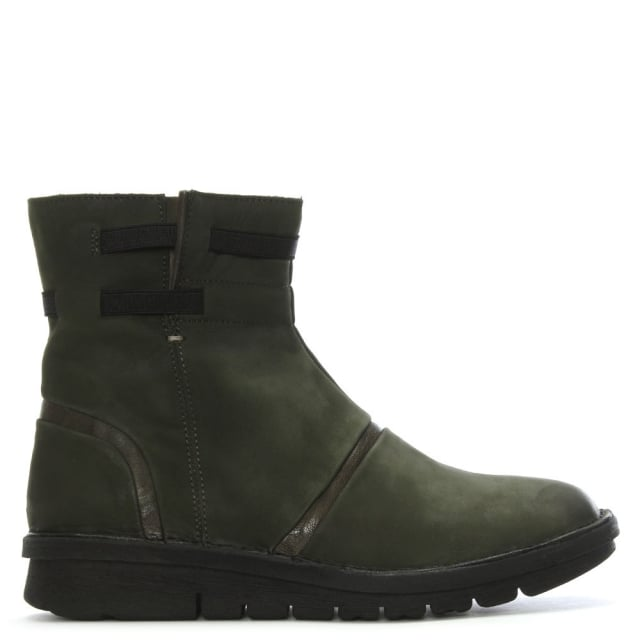 Khaki Suede Rugged Ankle Boots