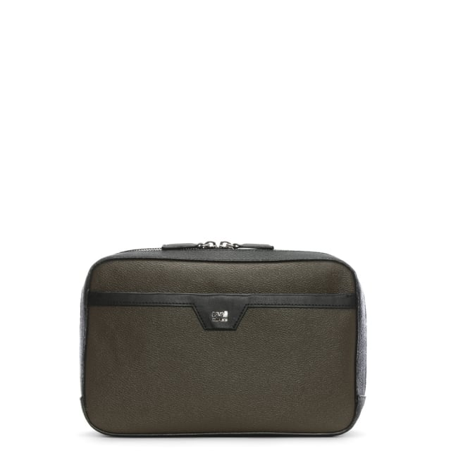Cavalli Class Khaki Two Tone Zip Around Cosmetic Case