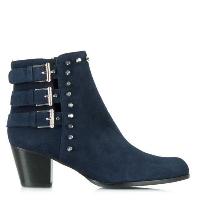 Kickstart Blue Suede Studded Ankle Boot
