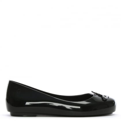 Kid's Black Space Love Ballerina Pumps