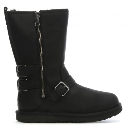 Kid's Kalia Black Leather Biker Boots