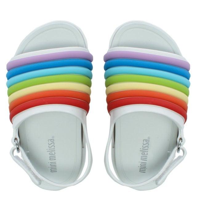 f01daf2a1af1 Melissa Kid s Mini Rainbow White Beach Sliders