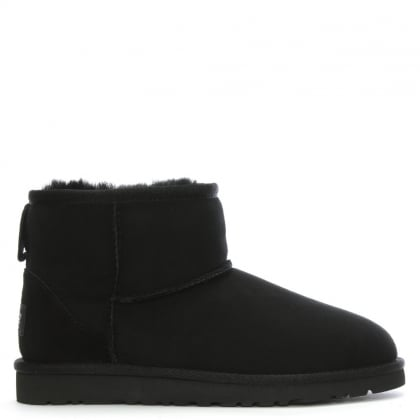 Kids Classic Mini Black Suede Sheepskin Boot