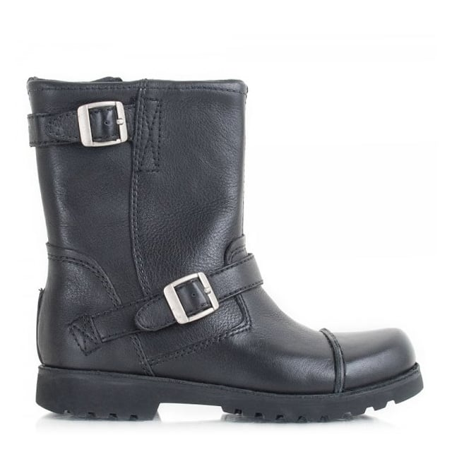 Kids Cowen Black Leather Boot