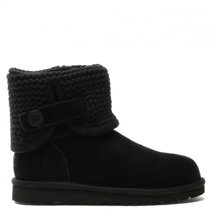 Kid's Darrah Black Suede Knitted Cuff Ankle Boot