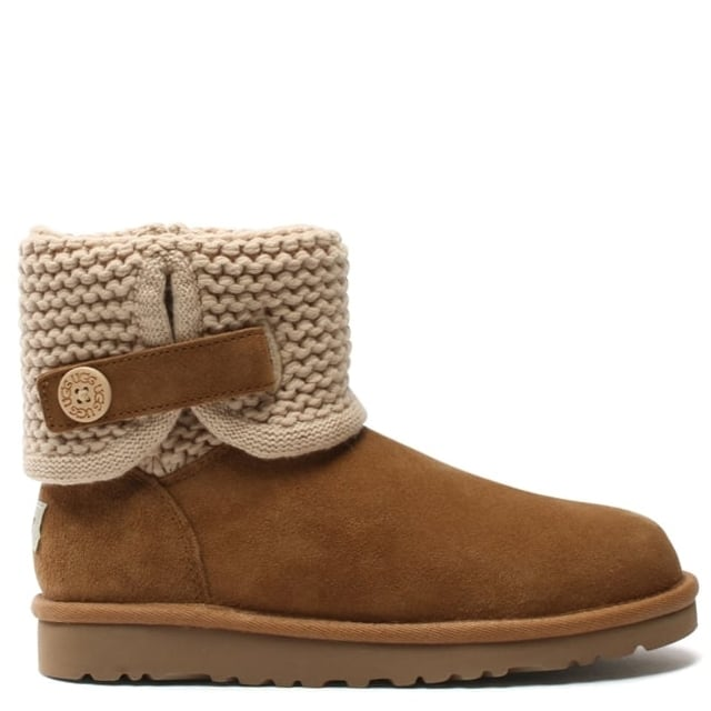Kid's Darrah Chestnut Suede Knitted Cuff Ankle Boot
