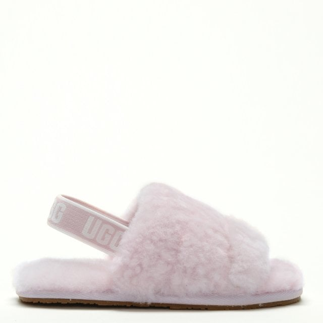 2d2444deb8e Kid's Fluff Yeah Logo Seashell Pink Sheepskin Sliders