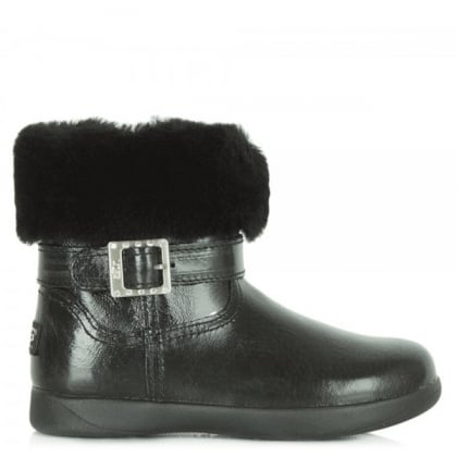 Kids Gemma Black Patent Buckled Shearling Lined Boot