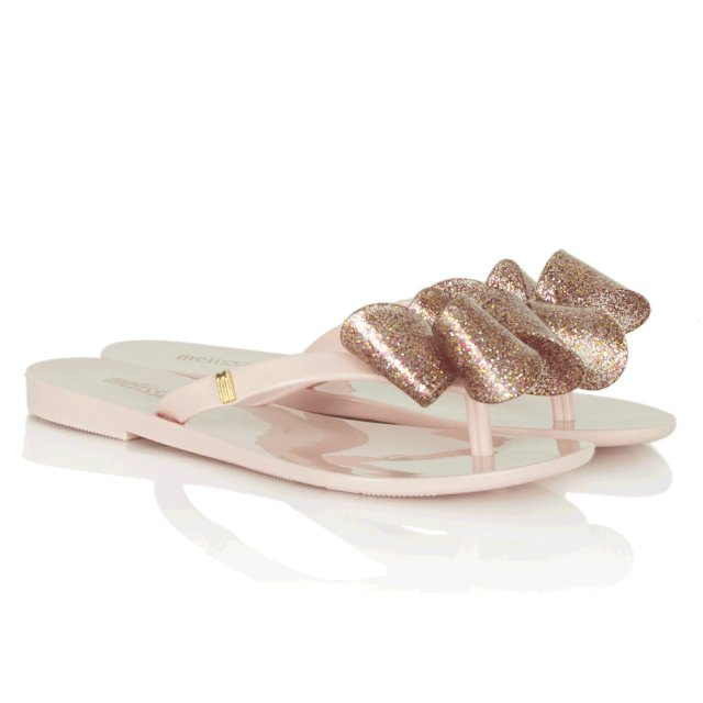 7ef688b6b Melissa Pink Harmonic Glitter Bow Kids Flip Flop