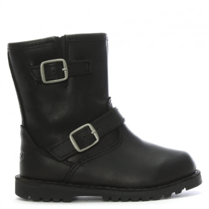 Kid's Harwell Black Leather Buckle Biker Boots