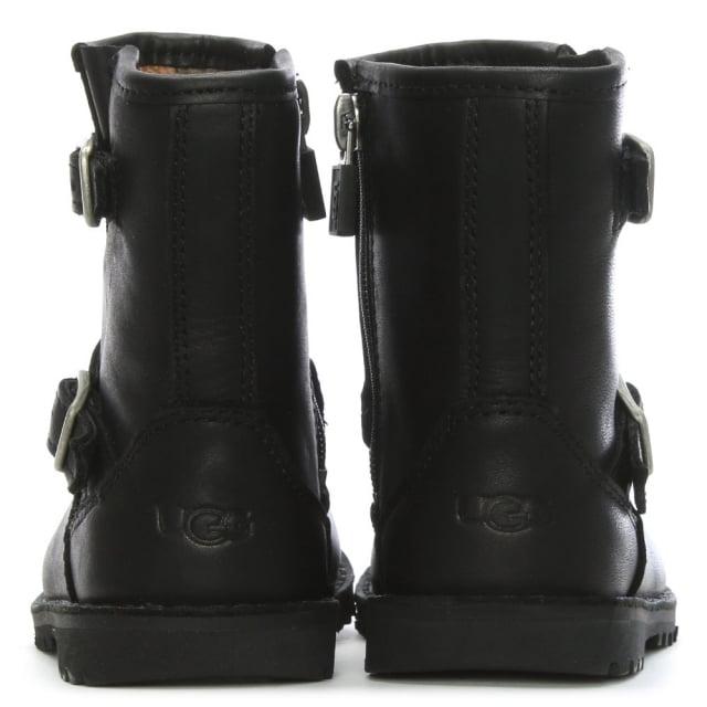 f3dc8b092ab Kid's Harwell Black Leather Buckle Biker Boots