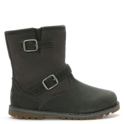 Kid's Harwell Charcoal Leather Buckle Biker Boots