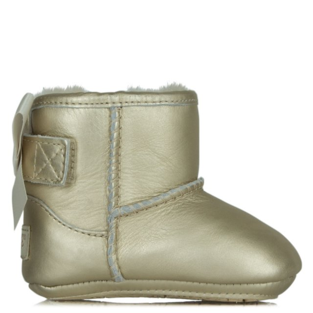 Kids Jesse Gold Leather Satin Bow Boot