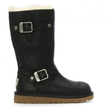 Kids Kensington Black Leather Biker Boot