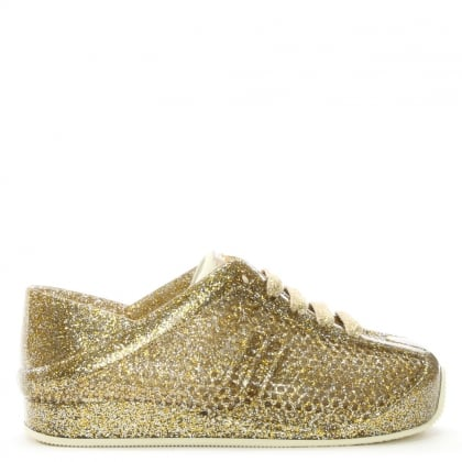 Kid's Mini Gold Glitter Love System Lace Up Trainers