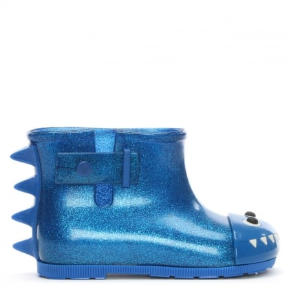 Kid's Mini Monster Blue Glitter Rain Boots