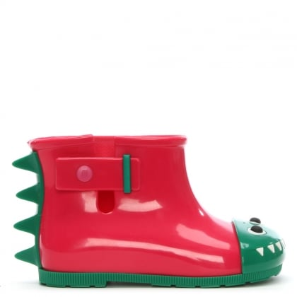 Kid's Mini Monster Pink Contrast Rain Boots