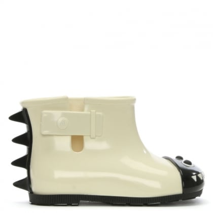 Kid's Mini Monster White Contrast Rain Boots