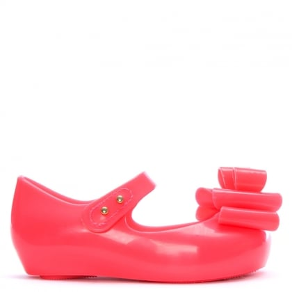 Kid's Mini Pink Neon Ultragirl Triple Bow Ballerina Flats