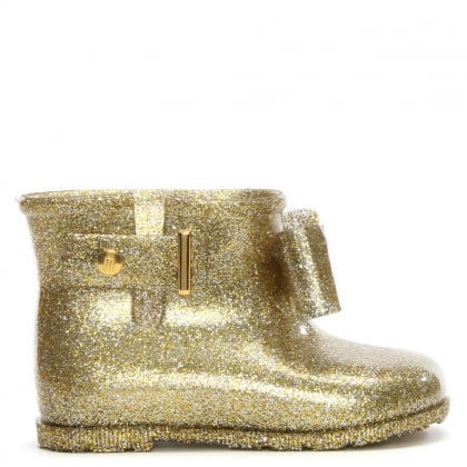 Kid's Mini Sugar Bow Gold Glitter Rain Boots