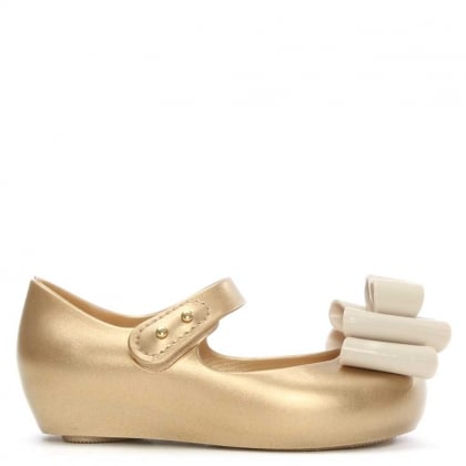 Kid's Mini Ultragirl Gold Rubber Triple Bow Ballerina Flat