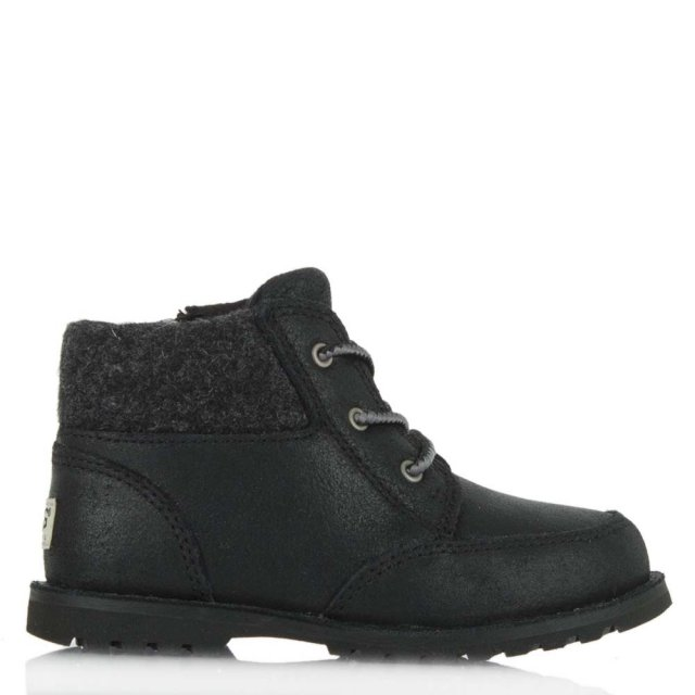 Kids Orin Black Soft Leather Lace Up Boot
