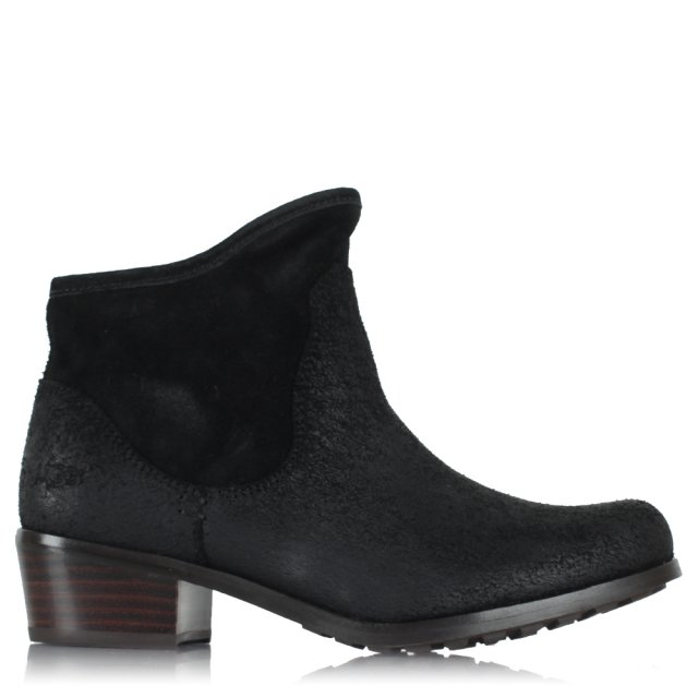 Kids Penelope Black Suede Ankle Boot